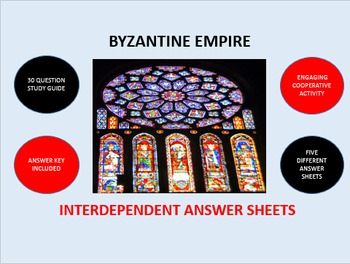 Byzantine Empire: Interdependent Answer Sheets Activity