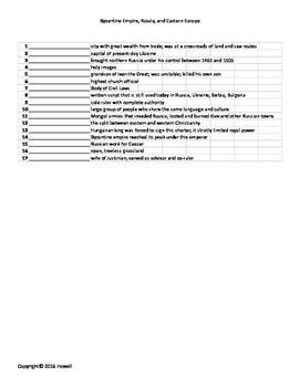 Byzantine Empire, Russia, and Eastern Europe Vocabulary Quiz or Worksheet