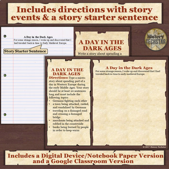 Early Medieval Europe (Dark Ages) Short Story Writing Activity