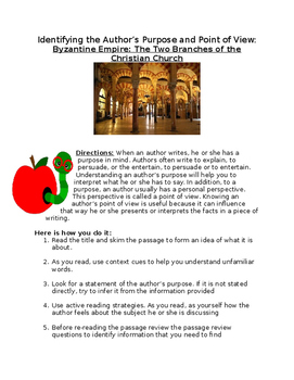 Byzantine Empire:Two Branches of the Christian Church- Identifying purpose Wksht