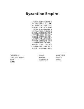 Byzantine Empire Word Search