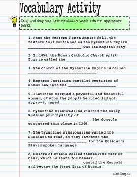 Byzantine Empire and Islam Vocabulary for Google and OneDrive Distance Learning