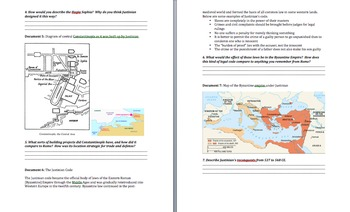 """Byzantine Empire and Justinian: A """"New Rome""""? Lesson Plan, PowerPoint, and DBQ"""