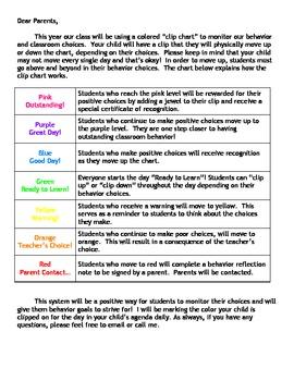 Freebie - Clip Chart Letter to Parents
