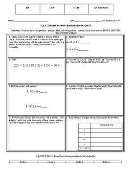 C.A.S. (Colorado Academic Standards) Math Review Quizzes 21-30