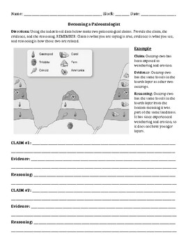 C.E.R. Index Fossil Worksheet (Editable)