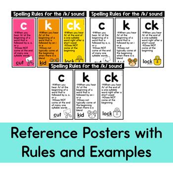 C, K, -CK Words Sort: A Center and Worksheet