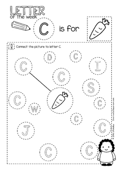 C - Letter of the week - NO PREP preschool & kindergarten letter work worksheets