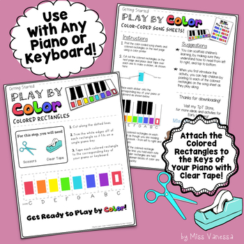 The Major Scale, Color-Coded Song Sheet, Play by Color