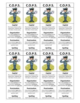 C.O.P.S. Sentence Check Bookmark Capital Organization Punctuation Spelling