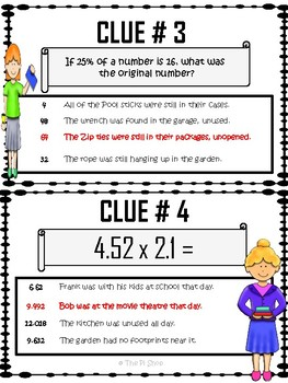 C.S.I. Math {KIDNAPPED TEACHER} Back to School Math Review