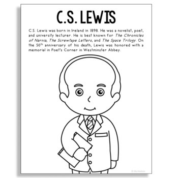 C.S. Lewis, Famous Author Informational Text Coloring Page Craft, Library