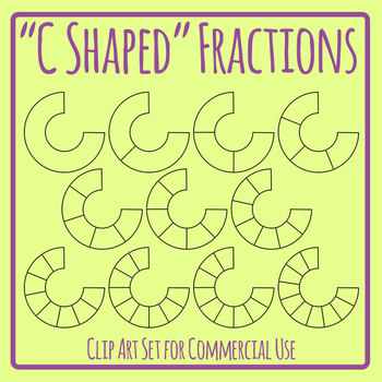 C Shaped Fractions Clip Art Set for Commercial Use`