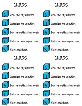 graphic relating to Cubes Math Strategy Printable identified as C.U.B.E.S. Math Procedure Printable