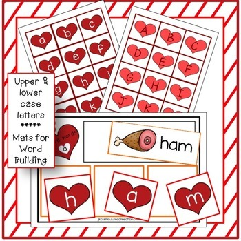 C-V-C Short Vowel Word Building Center Activities - Valentine's Day Theme