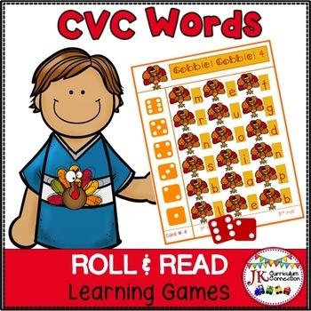 Thanksgiving C-V-C Word Literacy Game – Gobble! Gobble!