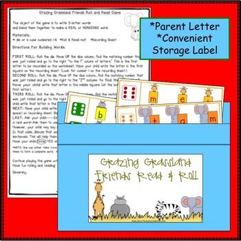 C-V-C Word Building Game - Grasslands Theme
