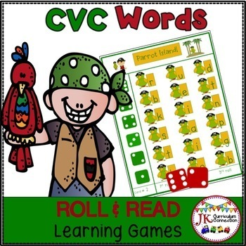 C-V-C Word Building Game - Pirate Theme
