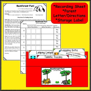 C-V-C Word Building Game – Rainforest Fun