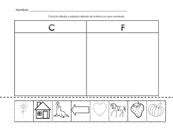 C and F Beginning Sound Sort - Spanish