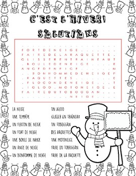 C'est L'hiver! French Winter Vocabulary Word Search