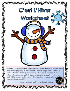 C'est L'hiver Winter writing activity showing preferences.