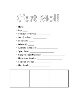 C'est Moi! - All About Me! Student Profile in French