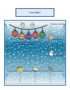 C'est Noël, creative writing activity in French, passé composé