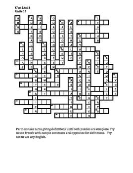 C'est à toi 2 Unité 10 Partner puzzle Speaking activity