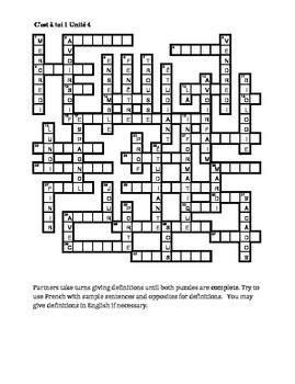 C'est à toi 1 Unité 4 Partner puzzle Speaking activity