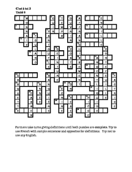 C'est à toi 2 Unité 6 Partner puzzle Speaking activity