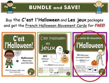 C'est l'Halloween - BUNDLE (French: Halloween activities, Games, Movement Cards)