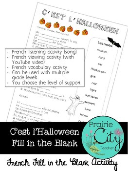 C'est l'Halloween (song) - French Fill in the Blank
