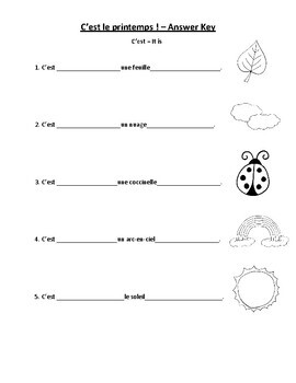 C'est le printemps - Worksheet