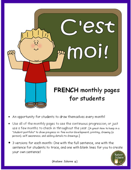 C'est moi! (Monthly pages for students - in French)