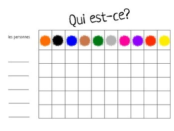 Qui est-ce? French Speaking Game - les couleurs - colors