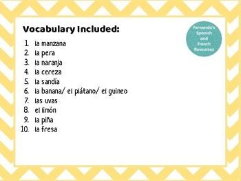 ¿Quién es? Spanish Speaking Game ~ las frutas ~fruits ~food ~la comida