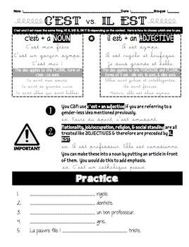 C'est vs. Il set explained: Notes & PowerPoint practice Bundle