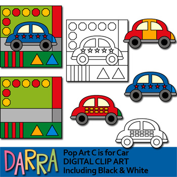 C is for Car Clip Art - Pop art clipart mix and match