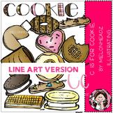 C is for cookie clip art - LINE ART- Melonheadz clipart