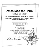 C'mon Ride the Train! CHOO CHOO! Polar Express Donation Letter