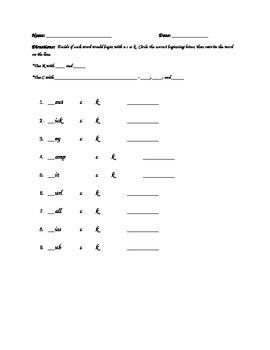C or K Assessment