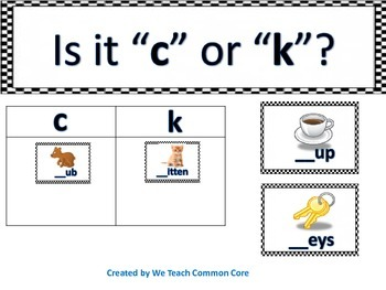C or K Literacy Station Word Word Practice for Daily 5