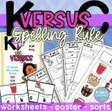 C or K Spelling Rule Worksheets and Poster - K versus C