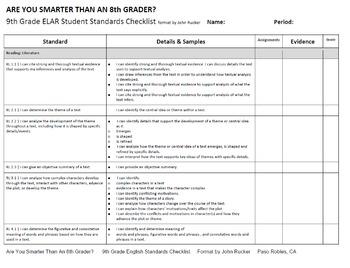 CA CCSS 9th ELA Student Checklist