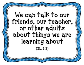 CA-CCSS Speaking and Listening Standards -1st Grade (kid friendly)