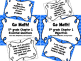 CA Go Math 5th Grade Resource Packet-Ch 1 Essential Questions & Daily Objectives
