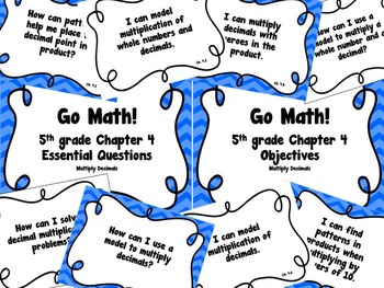 CA Go Math 5th Grade Resource Packet-Ch 4 Essential Questions & Daily Objectives