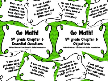 CA Go Math 5th Grade Resource Packet-Ch 6 Essential Questions & Daily Objectives
