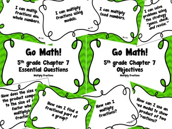 CA Go Math 5th Grade Resource Packet-Ch 7 Essential Questions & Daily Objectives